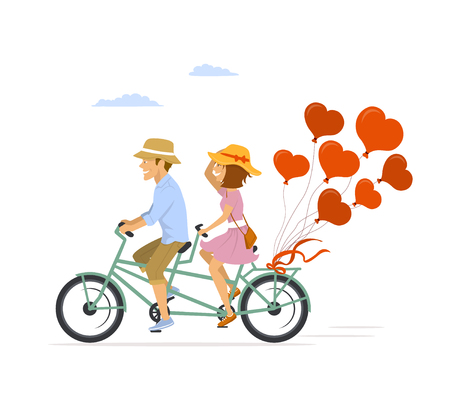 Cute romantic cheerful couple riding tandem bike with heart shaped balloons Vectores