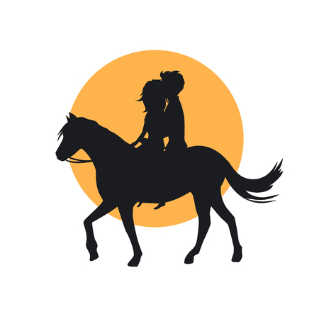 silhouette of romantic  couple in love riding horse
