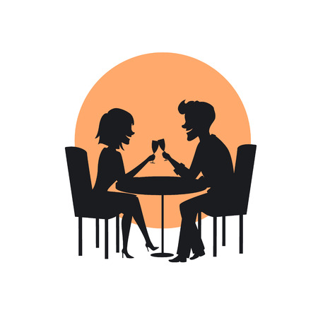 silhouette of a happy cheerful couple in love on a romantic date in the restaurant 版權商用圖片 - 94823382