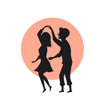 cute happy romantic couple in love dancing silhouette