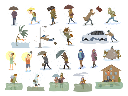 collection of people coping with bad severe meteorological weather conditions disasters like extreme heat and cold, hurricane, strong wind snow hail rain storm, tsunami, flood graphic