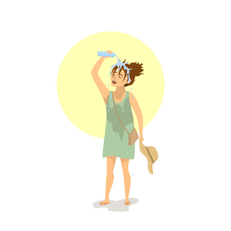 Woman pouring water over head, suffering from extreme heat wave Illustration