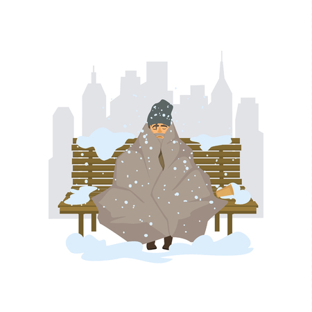 homeless man freezing outside in the city park graphic Illustration