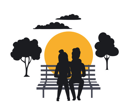 silhouette of couple sitting on the bench in the park Imagens - 95339543