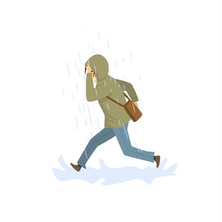 man running under the strong rain Stock Vector - 95339546