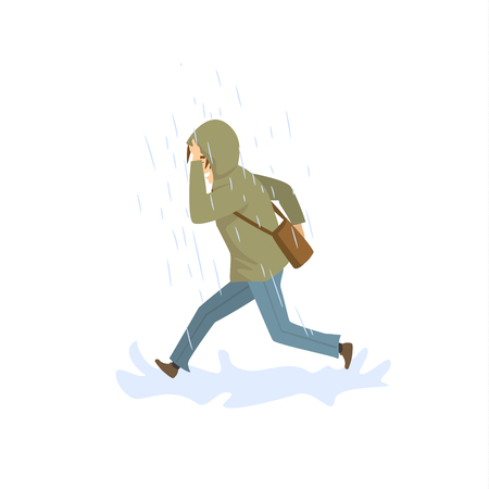 man running under the strong rain