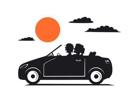 Silhouette of couple, man and woman in love on the roadtrip drivig a car Stock Illustratie