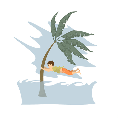 man trying to save life during tsunami graphic, natural disasters concept Illustration