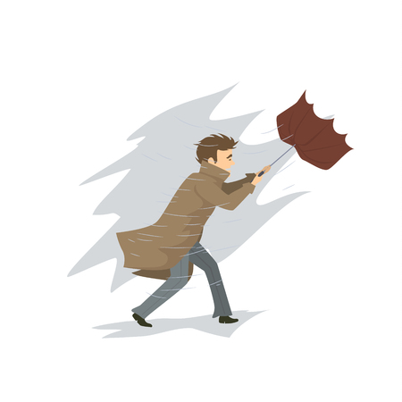 Man is blown away by strong wind storm and rain Stock Vector - 95352373
