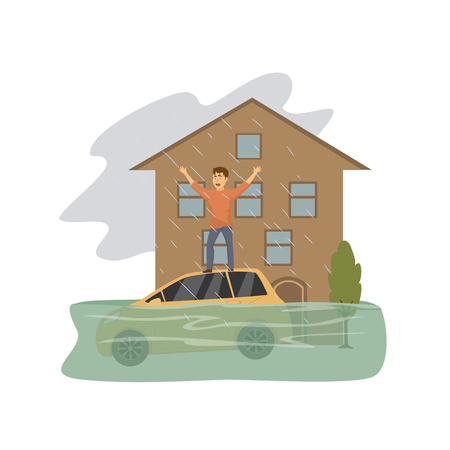 Flooded house, man asking for help standing on the roof of a sinking car, natural disaster concept graphic Illustration