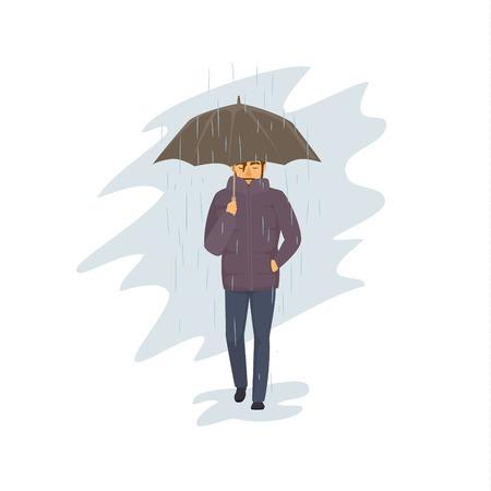 homme marchant avec parapluie sous la pluie