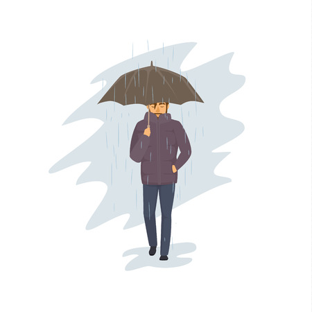 man walking with umbrella under the rain Ilustração