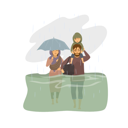 family, people escape from floodwaters, flood victims graphic Illustration