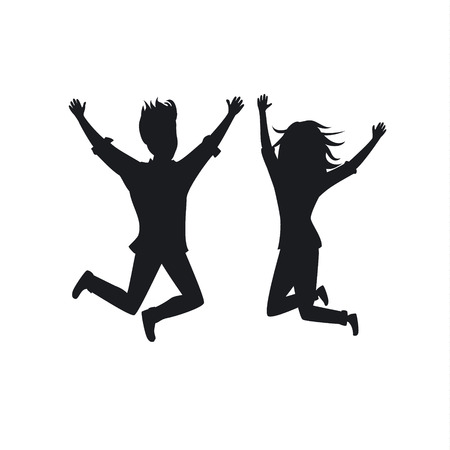 silhouette of couple man and woman jumping for joy