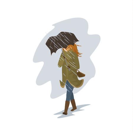 Vrouw die in de regen en windstorm loopt