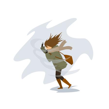 sterke windstorm die een vrouw wegblaast die op straat loopt Vector Illustratie