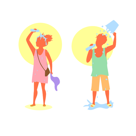 People man and woman coping with extreme heat wave by drinking water and pouring water and ice bucket over heads and bodies