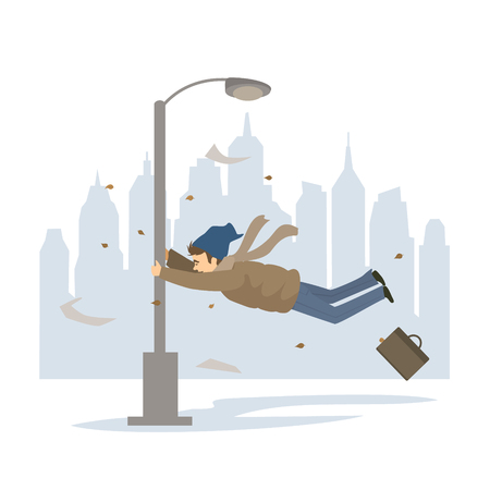 man pedestrian is blown away by the strong stormy wind in the city, natural disaster weather graphic Vectores