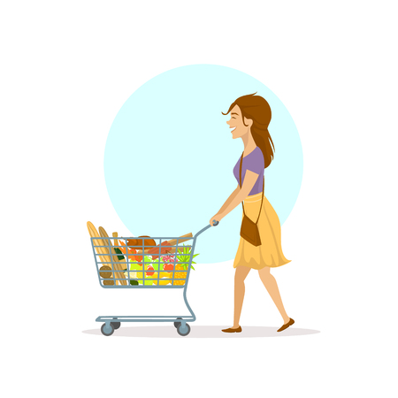 young cheerful cartoon woman shopping in supermarket