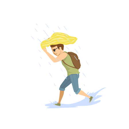 man running under the strong summer rain