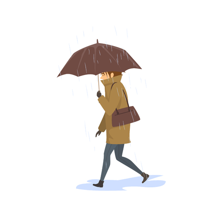 woman walking under the rain with umbrella, side view vector illustration