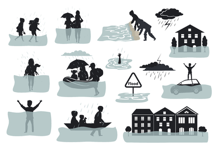 flood infographic silhouette elements. flooded houses, city, car, people escape from floodwaters leaving houses, homes, rescue families animals, building sandbag barrier for protection, signs, symbols
