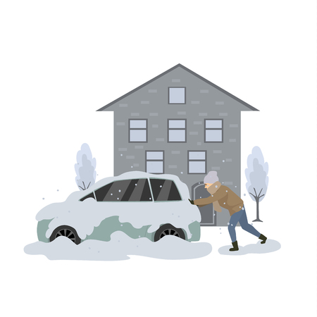 Man pushes the stuck in snow and ice car during blizzard Illustration