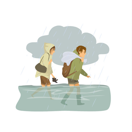 man woman walking in floodwaters, escaping from flood.  Vectores