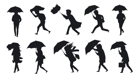 collection of people walking under the rain storm wind with umbrellas