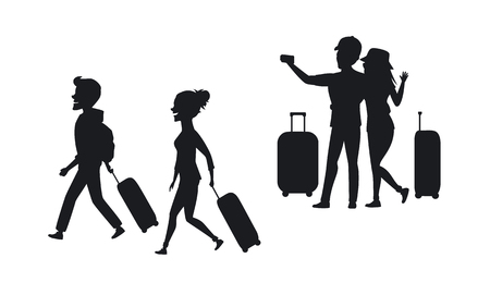 silhouette of a couple, man and woman traveling with suitcases and taking selfie