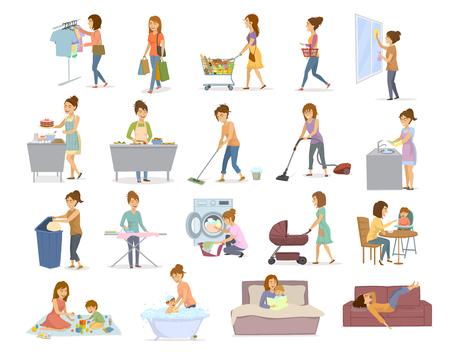 毎日の雑用、家事をしている女性  イラスト・ベクター素材