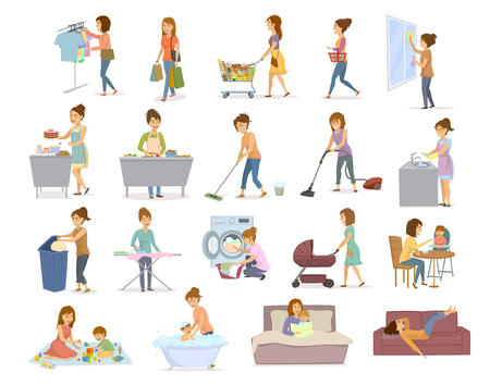 Woman doing daily chores, household activities