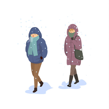 man and woman walking under falling strong snow, extreme cold winter