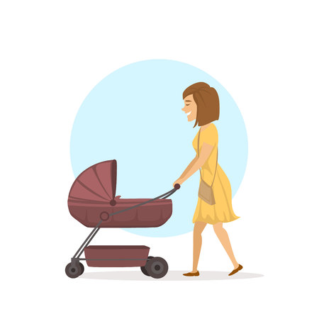 Cheerful happy woman, young mother walking with baby carriage child pram. Illustration
