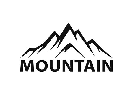 Mountain icon silhouette graphic element illustration. Stock Illustratie