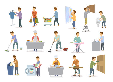 Man at household activities set. Men shopping, washing floor, dishes toilet, cleaning home windows, vacuuming and more.