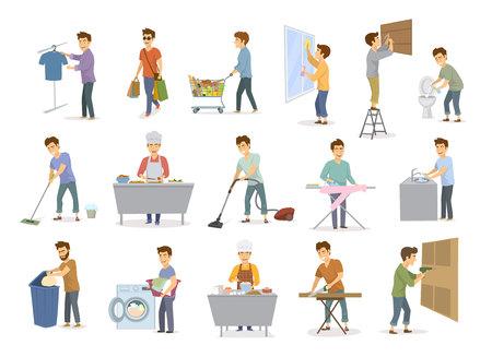 Uomo al set di attività domestiche. Uomini che fanno acquisti, lavano i pavimenti, lavano i piatti, puliscono le finestre di casa, aspirano e altro ancora.