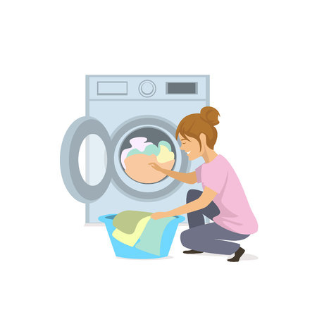 Woman makes laundry, puts clothes into washing machine. Isolated graphic vector illustration.