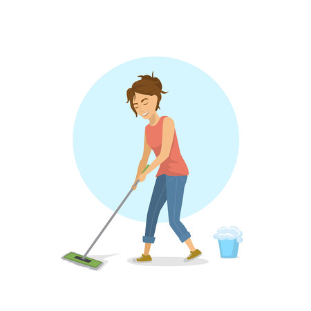 Cheerful cute young woman cleaning mopping floor. Household chores illustration.
