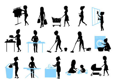 set of female silhouette graphics at  housework, household.woman cooking baking cleaning washing floor windows dishes, makes laundry, iron, shopping, play teach walk with kid, home chores Stock Illustratie