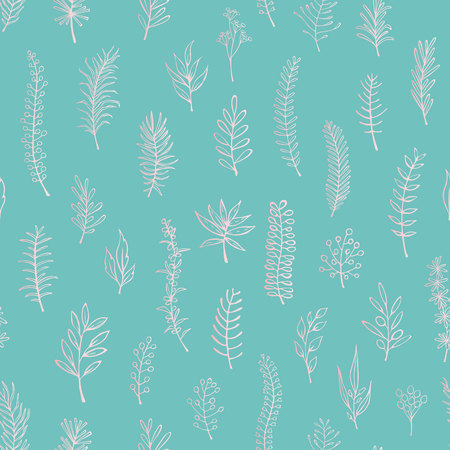 floral twigs branches seamless pattern Illustration