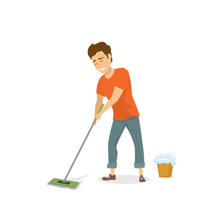 man at household activity, washing mopping floor isolated cartoon graphic