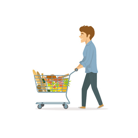 Man shopping in supermarket Ilustrace