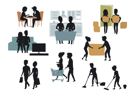 Silhouettes collection of man and woman Ilustração