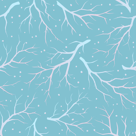 Winter leafless tree branches seamless pattern.