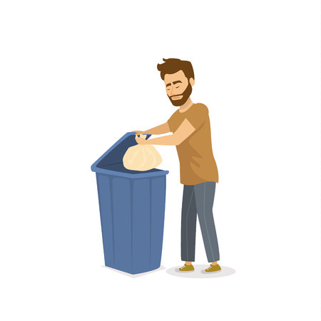man throwing the garbage in a trash bin Vector illustration.