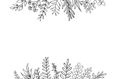 black and white floral hand drawn farmhouse style outlined twigs branches header border background with place for text