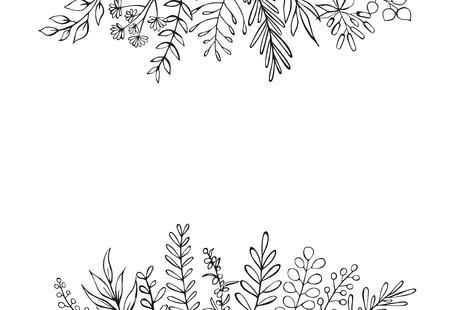 noir et blanc floral dessiné à la main style ferme décrit brindilles branches en-tête frontière fond avec place pour le texte Vecteurs
