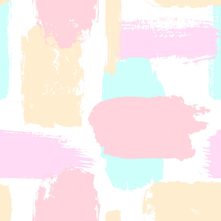 abstract hand drawn different shapes brush strokes seamless pattern swatch in soft pastel colors Ilustração
