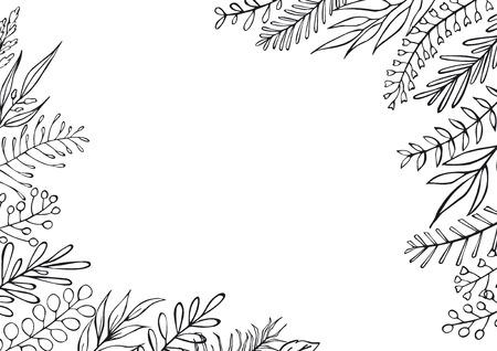 in bianco e nero floreale disegnato a mano stile fattoria ramoscelli delineati rami cornice bordo sfondo con posto per il testo